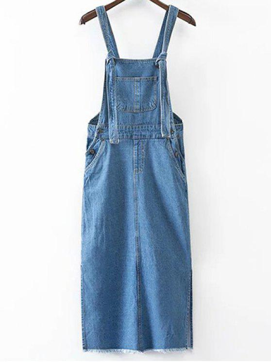 9c5d432008f 32% OFF  2019 Side Slit Casual Pockets Denim Pinafore Dress In ICE ...