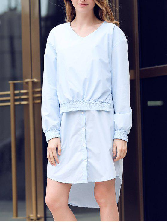 lady Solid Color Spliced V-Neck Long Sleeve Shirt Dress - LIGHT BLUE M