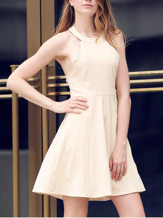 best Semi Formal Halter A Line Dress - BEIGE L