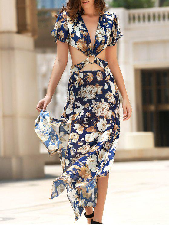 women Full Floral Hollow Out Boho Dress - COLORMIX S