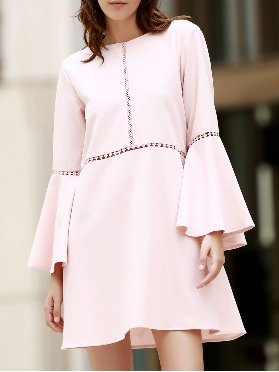 shops Loose Cut Out Round Neck Flare Sleeve Dress - PINK L