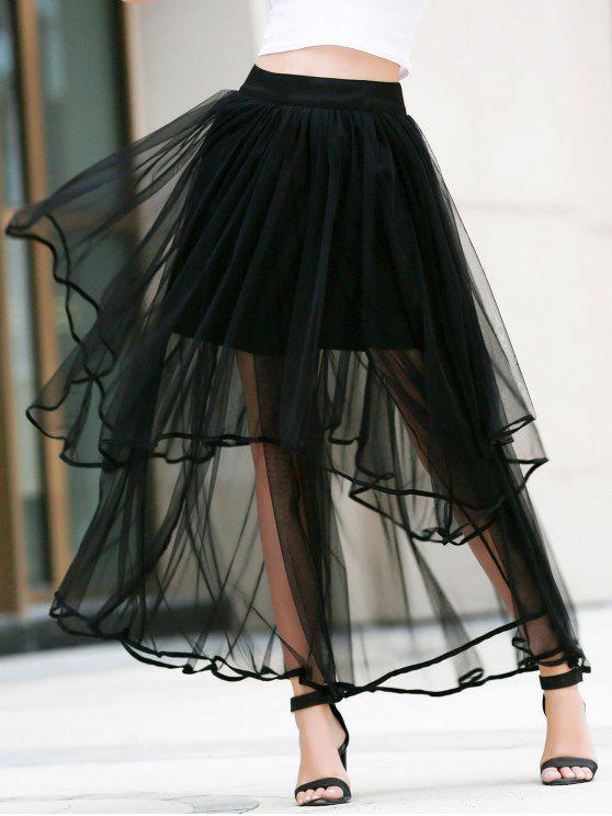 latest Irregular Hem Layered Tulle Skirt - BLACK L