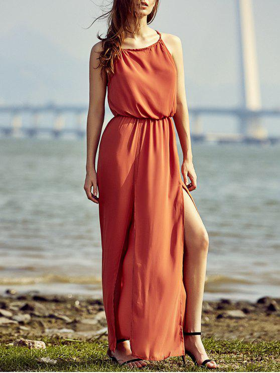 trendy Split High Waisted Beach Maxi Dress - RED 2XL