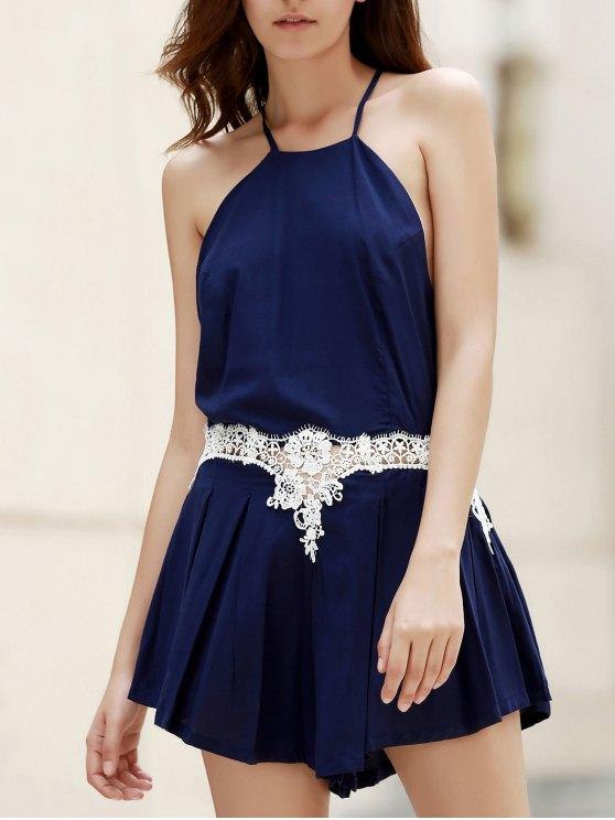 Combinado de encaje plisado mameluco - Azul Marino  S