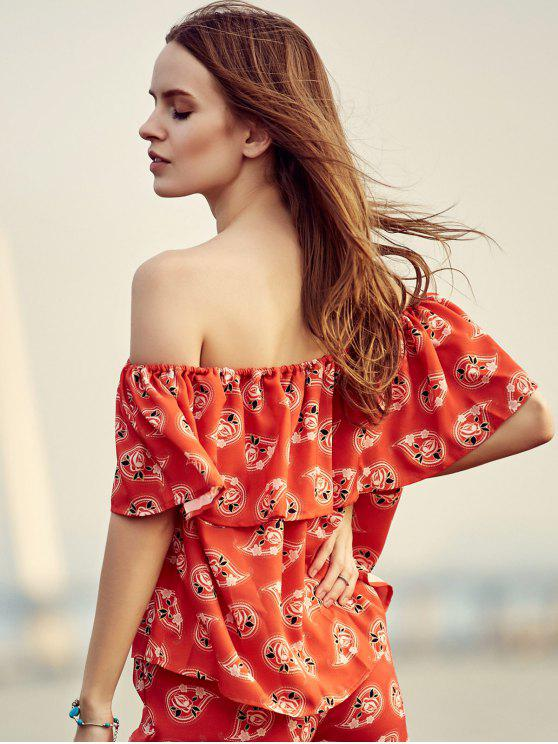 ladies Floral Ruffles Off The Shoulder Blouse - RED 2XL