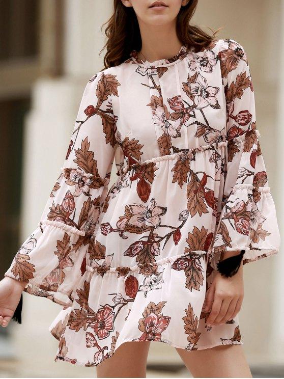Impresa cuello redondo del vestido largo de la manga floja - Rosado Claro S