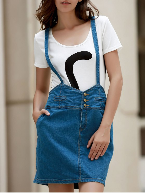 new Packet Buttocks Denim Suspender Skirt - BLUE 2XL