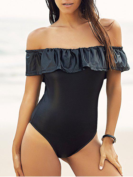 affordable Off-The-Shoulder Ruffles Bodysuit - BLACK S
