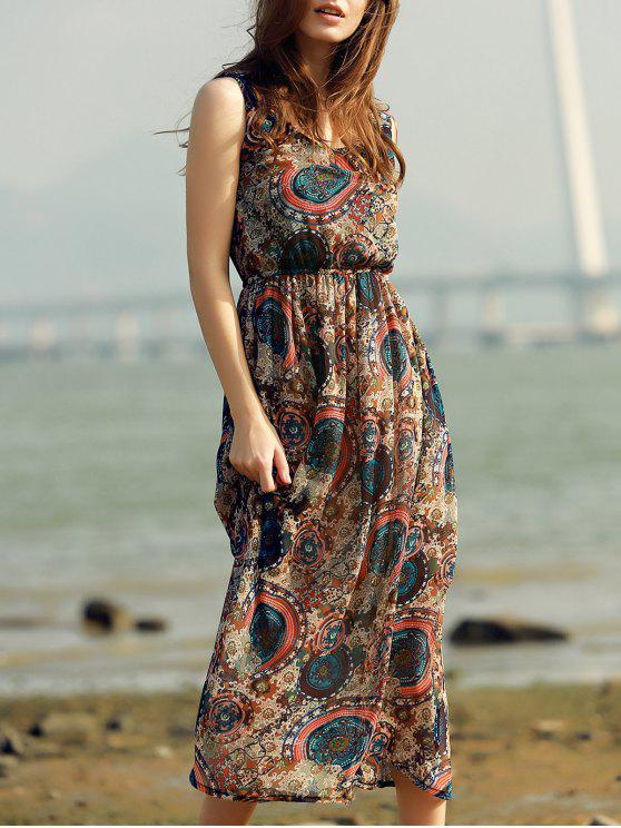 trendy Printed Beach Maxi Dress - COLORMIX S