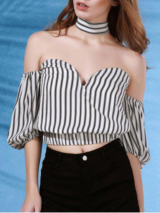 sale Off The Shoulder Striped Strapless Flare Sleeve Blouse - WHITE S