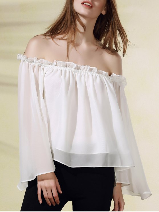 ladies Solid Color Flare Sleeve Off The Shoulder Chiffon Blouse - WHITE M