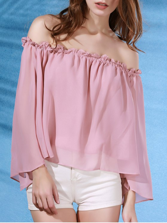 women Solid Color Flare Sleeve Off The Shoulder Chiffon Blouse - PINK L