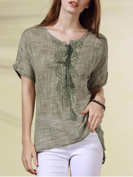 outfits Lace Up Boxy Embroidered T-Shirt - LIGHT GREEN ONE SIZE(FIT SIZE XS TO M)