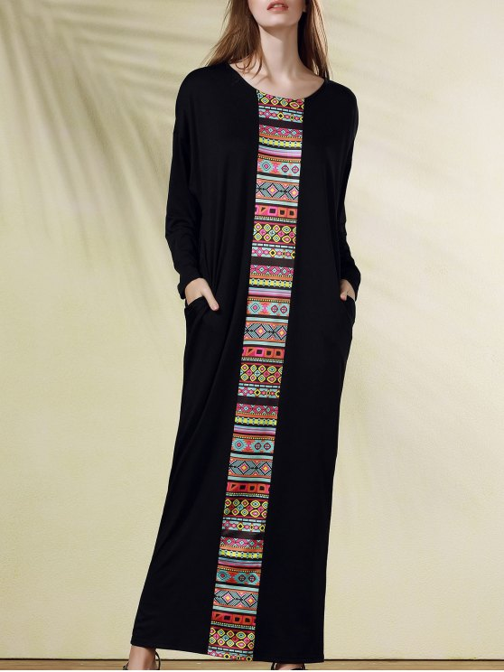 ffb3d571c60 29% OFF  2019 Ethnic Print Scoop Neck Long Sleeve Maxi Dress In ...