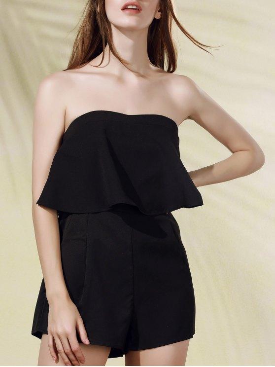 women's Solid Color Ruffles Strapless Romper - BLACK L