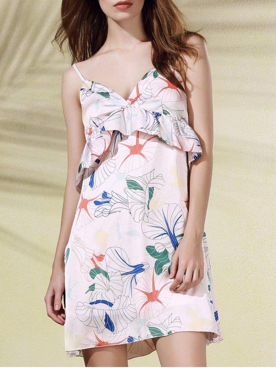 Impresión floral del volante volantes vestido sin mangas Cami - Rosa M