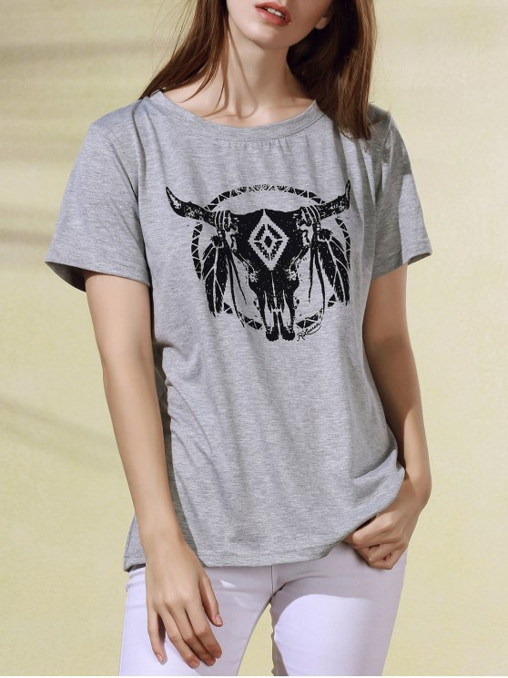 Breve historieta de la manga de impresión cuello redondo T-shirt - Gris Claro S