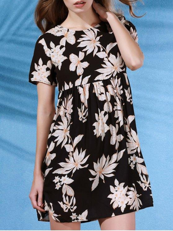 latest Round Collar Flower Print Short Sleeve Dress - BLACK S