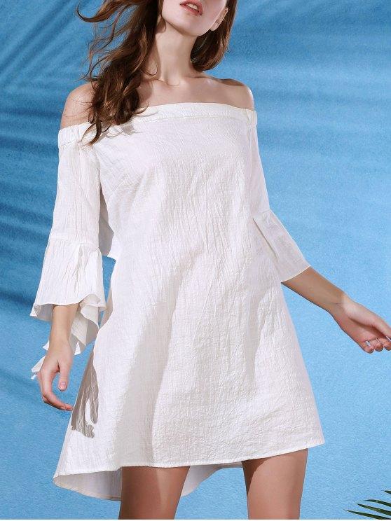 Vestido  decotado com corte na costa e manga da borboleta - Branco L