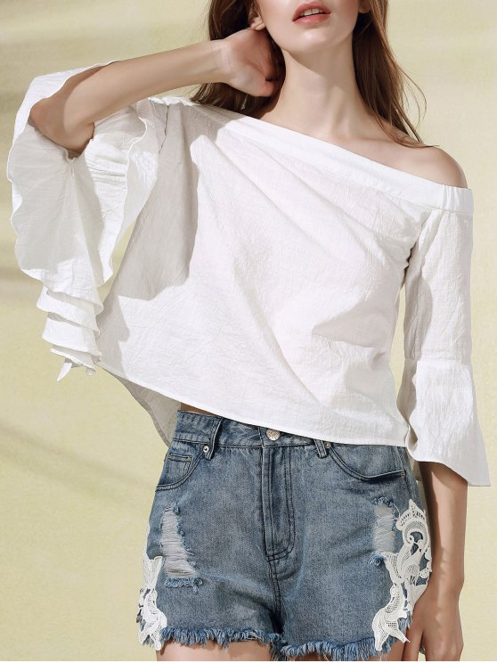 unique Solid Color Off The Shoulder Butterfly Sleeve Blouse - WHITE M