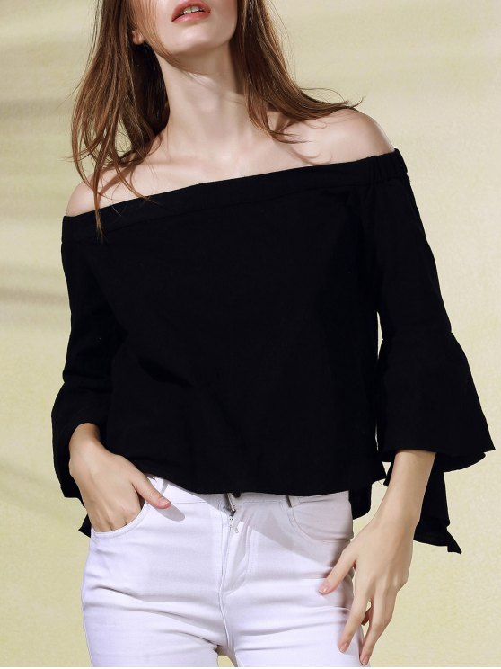 chic Solid Color Off The Shoulder Butterfly Sleeve Blouse - BLACK L