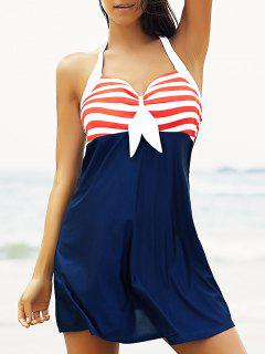 Halter Convertible Sailor Retro Swimdress Bathing Suit - Red And White And Blue 2xl