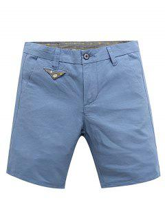 Casual Zip Fly Summer Solid Color Shorts For Men - Light Blue 34