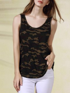 Military Uniform Style Scoop Neck Tank Top - Army Green Camouflage S