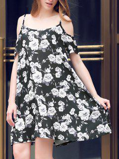 Full Floral Print Cami A Line Dress - Black Xl