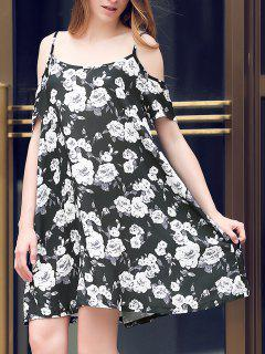 Full Floral Print Cami A Line Dress - Black L