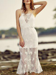 Backless Spaghetti Straps Openwork Lace Dress - White M