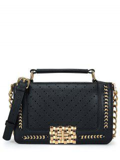 Hollow Out Metal Chains Tote Bag - Black