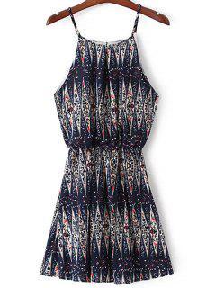 Printed Mini Camisole Dress - Purplish Blue S