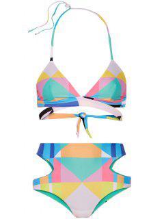 Colorful Print Halter High Waist Bikini Set - Blue S