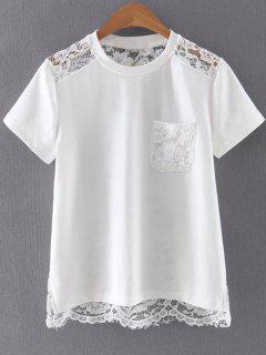 Encaje De Nuevo La Camiseta Del Blanco - Blanco L