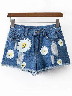 Ripped Daisy Imprimer Shorts Denim - Bleu S