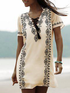 Lace Up Plunging Neck Short Sleeve Embroidery Dress - Beige L