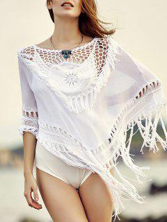 Tassels Cut Out Round Neck Cowl Cover Up - White