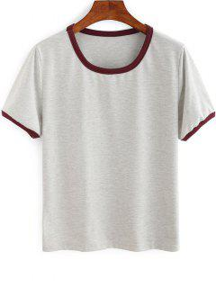 Contrasting Piped Ringer T-Shirt - Gray Xl