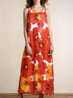 Full Flowers Print Cami Maxi Dress - Orange M