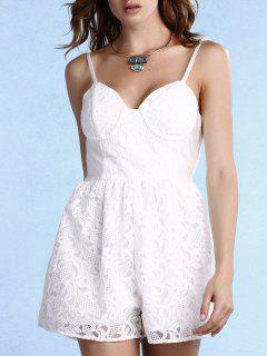 White Lace Cami Romper - White L