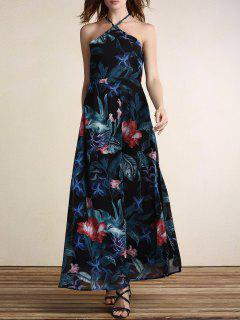 Floral Cami Backless Haute Maxi Dress Slit - Noir M