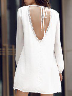 Back Cut Out Long Sleeve Mini Dress - White S