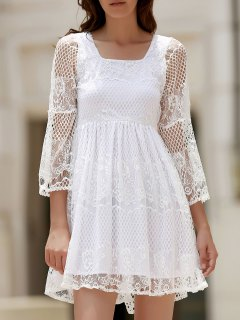 White Lace Mesh Splicing Square Neck Flare Sleeve Dress - White S