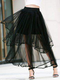 Irregular Hem Layered Tulle Skirt - Black L