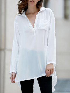 Loose White Shirt Collar Long Sleeve Shirt - White