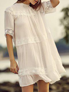White Lace Splicing Stand Neck Half Sleeve Dress - White L