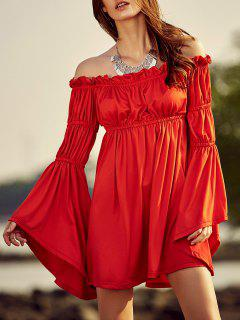 Cold Shoulder Bell Sleeve Red Dress - Red 2xl