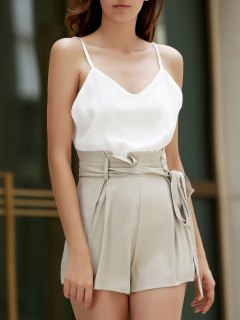 Spaghetti Strap High-Waisted Playsuit - Nude L