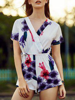 Belted Violet Print V Neck Short Sleeve Romper - Purple L